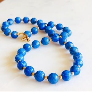 Jewelry - 14K GF Vintage 6mm Lapis Lazuli Necklace